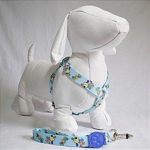 Peitoral com guia - 8 grande porte - azul cachorrinhos
