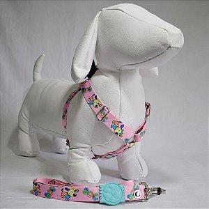 Peitoral com guia - 8 grande porte - rosa cachorrinhos