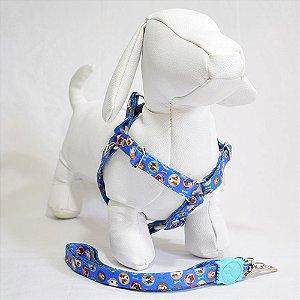 Peitoral com guia - 0 pequeno porte - azul cachorrinhos
