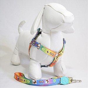 Peitoral com guia - 0 pequeno porte - colorida cachorrinhos
