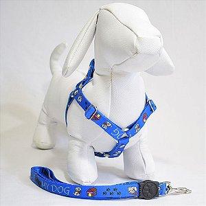 Peitoral com guia - 0 pequeno porte - azul my dog