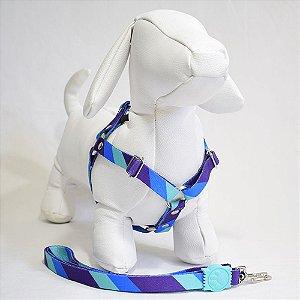 Peitoral com guia - 0 pequeno porte - azul listras