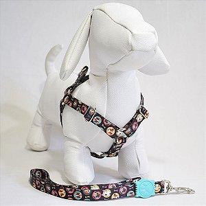 Peitoral com guia - 1 pequeno porte - preta cachorrinhos