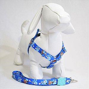 Peitoral com guia - 1 pequeno porte - azul cachorrinho