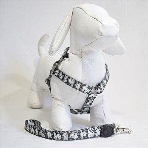 Peitoral com guia - 1 pequeno porte - preto cachorrinho