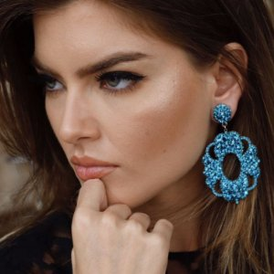Brinco Cristais Blue Zircon