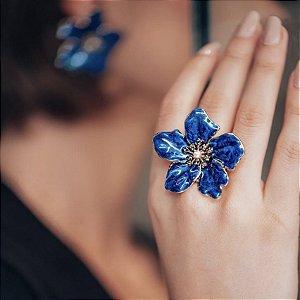 Anel Flor Esmaltada Azul