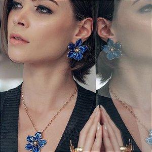 Cordao Flor Esmaltada Azul