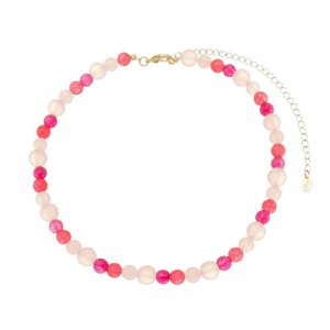 Chocker Ana Beatriz Pedras Naturais Tons de Rosa