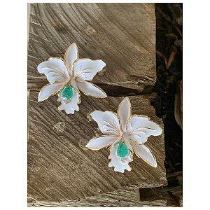 Brinco Orquídea Esmaltada Branca