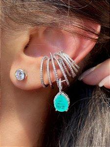 Ear Cuff cravejado com pingente de turmalina Fusion
