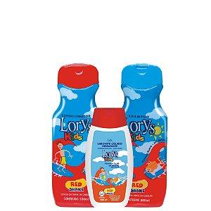 Kit Lorys Kids Red Shampoo e Condicionador e Sabonete Liquido