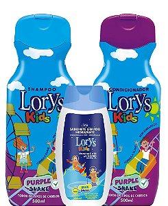 Lorys Kids Purple Shake Kit Shampoo + Condicionador + Sabonete Liquido
