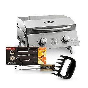 Combo Mestre Churrasqueiro Thor Kitchen +  Faqueiro + Pegador de Alimentos + Garra de Corte