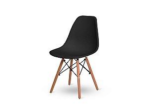 1 Cadeira Base Madeira Eiffel Charles Eames Wood De Jantar Preta