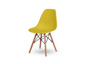 1 Cadeira Base Madeira Eiffel Charles Eames Wood De Jantar Amarela