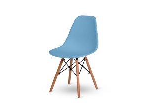 1 Cadeira Base Madeira Eiffel Charles Eames Wood De Jantar Azul