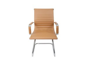 1 Cadeira Esteirinha Em Couro Pu Interlocutor Secretária Bege