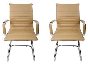 Kit 2 Cadeiras Pés Fixos Interlocutor Secretária Esteirinha