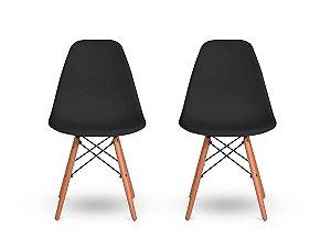 Kit 2 Cadeiras Jantar Wood Base Madeira Eiffel Charles Eames
