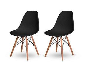 Kit 2 Cadeiras Jantar Wood Base Madeira Eiffel Charles Eames Preta