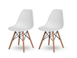 Kit 2 Cadeiras Jantar Wood Base Madeira Eiffel Charles Eames Branca