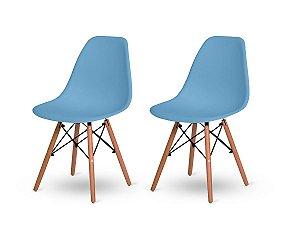 Kit 2 Cadeiras Jantar Wood Base Madeira Eiffel Charles Eames Azul