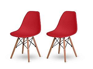 Kit 2 Cadeiras Jantar Wood Base Madeira Eiffel Charles Eames Vermelho