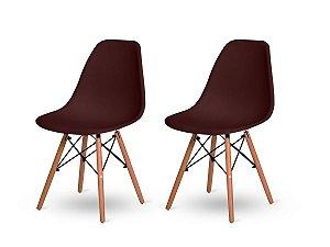 Kit 2 Cadeiras Jantar Wood Base Madeira Eiffel Charles Eames Marrom