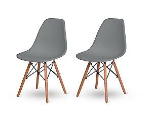 Kit 2 Cadeiras Jantar Wood Base Madeira Eiffel Charles Eames Cinza