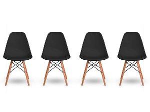 Kit 4 Cadeiras Jantar Wood Base Madeira Eiffel Charles Eames