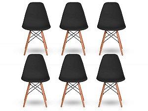Kit 6 Cadeiras Jantar Wood Base Madeira Eiffel Charles Eames