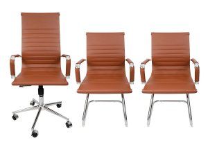 Combo 2 Cadeira Esteirinha Em Couro e 1 Cadeira Presidente Giratória Marrom