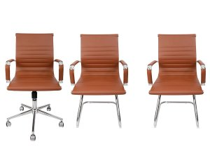 Combo 2 Cadeira Esteirinha Em Couro e 1 Cadeira Secretária Executiva Marrom