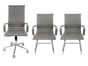 Combo 2 Cadeira Esteirinha Em Couro e 1 Cadeira Presidente Giratória Cinza