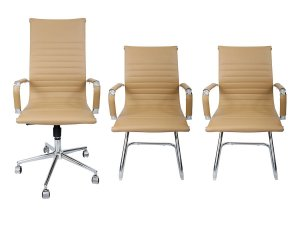 Combo 2 Cadeira Esteirinha Em Couro e 1 Cadeira Presidente Giratória Creme