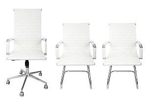 Combo 2 Cadeira Esteirinha Em Couro e 1 Cadeira Presidente Giratória Branca