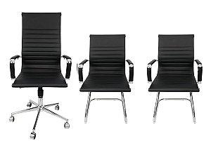 Combo 2 Cadeira Esteirinha Em Couro e 1 Cadeira Presidente Giratória