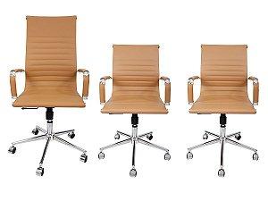 Combo 2 Cadeira Secretária Executiva e 1 Cadeira Presidente Giratória Bege