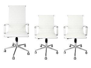 Combo 2 Cadeira Secretária Executiva e 1 Cadeira Presidente Giratória Branca