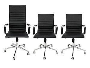 Combo 2 Cadeira Secretária Executiva e 1 Cadeira Presidente Giratória Preta