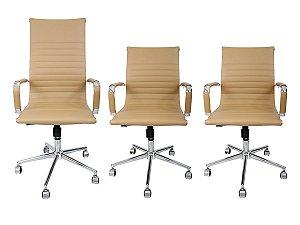 Combo 2 Cadeira Secretária Executiva e 1 Cadeira Presidente Giratória Creme