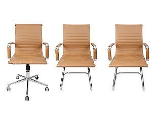 Combo 2 Cadeira Esteirinha Em Couro e 1 Cadeira Secretária Executiva Bege
