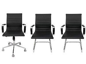 Combo 2 Cadeira Esteirinha Em Couro e 1 Cadeira Secretária Executiva Preta