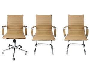 Combo 2 Cadeira Esteirinha Em Couro e 1 Cadeira Secretária Executiva Creme