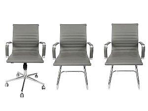 Combo 2 Cadeira Esteirinha Em Couro e 1 Cadeira Secretária Executiva Cinza