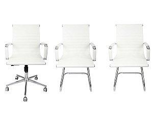 Combo 2 Cadeira Esteirinha Em Couro e 1 Cadeira Secretária Executiva Branca