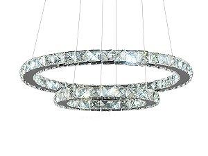 Lustre Candelabro Pendente Circular De Cristal 2 Anéis