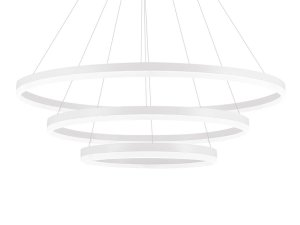 Lustre Candelabro Pendente Contemporâneo 3 Anéis Decorativo Branco 6000K