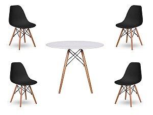 Kit 4 Cadeiras Com Mesa De Jantar Redonda Charles Eames 100Cm Branca